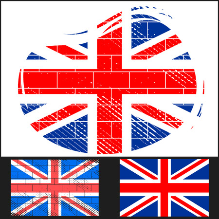 english flag: Set scratched flag of Great Britain on white and black background  Illustration
