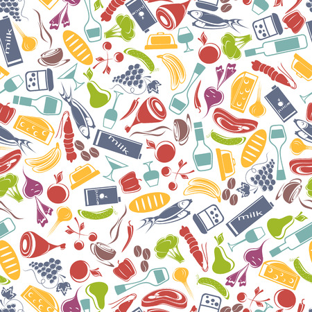 Various food on white background  Seamless composition  Illustration