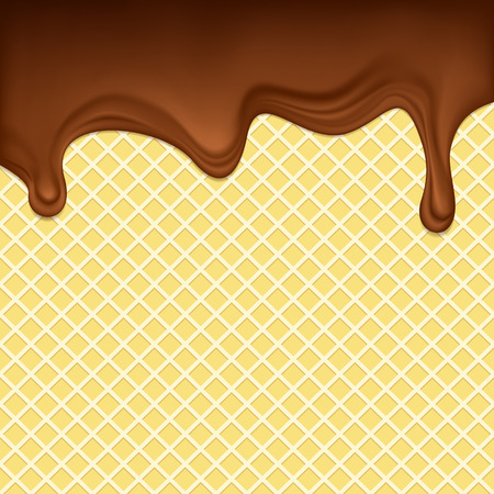 dripping chocolate: The dripping chocolate on a waffle surface  Illustration