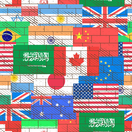 us flag grunge: Flags of different countries form a seamless background