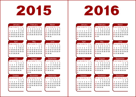 Calendar for 2015, 2016  Red and black letters and figures on a white background