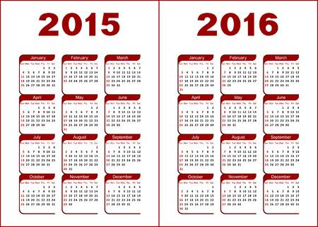 letras negras: Calendario para 2015, 2016 rojas y negras letras y cifras sobre un fondo blanco Vectores
