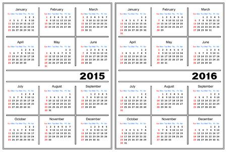 Template of a calendar of white color  A calendar for 2015 and 2016  Ilustração