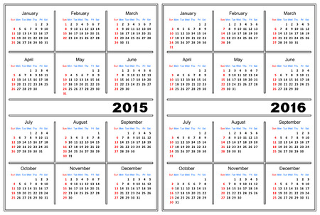 Template of a calendar of white color  A calendar for 2015 and 2016  Vector