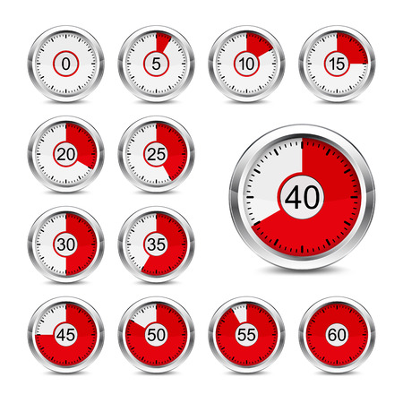 metering: Set of icons of timers on a white background  Red indicator   Used mesh gradient and transparency
