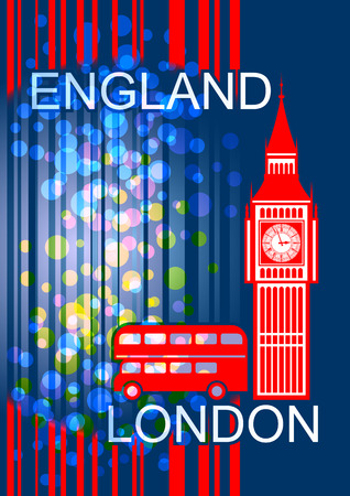 steeple: Postcard on the English  theme. Big Ben and red bus on an abstract background. Used a transparent effect. Illustration