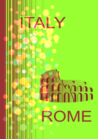 italian tradition: Postcard on the Italian theme. Colosseum on an abstract background.