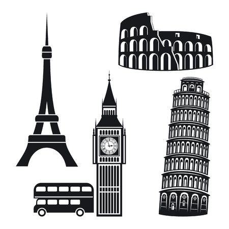 pisa tower: Famous landmark. Stickers on white background.