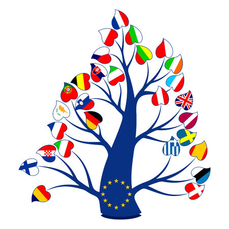 international flags: Tree with flags on a white background. Flags of the countries of the European Union. Illustration