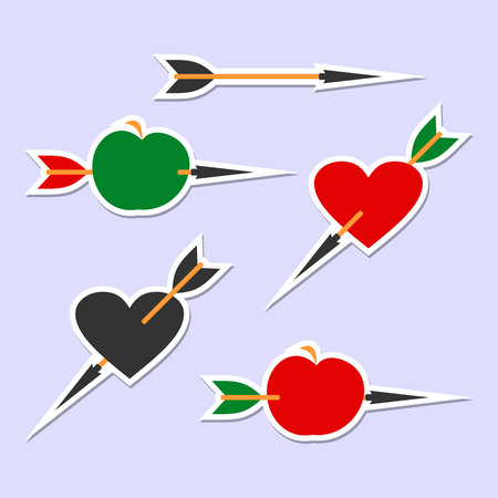 cupido: Arrow hits the target. Set of symbols on a light background.