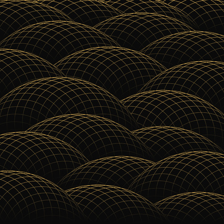 hillock: Hills of golden grid form an abstract background. Illustration