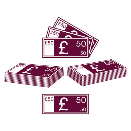 solvency: Abstract contours of English pound. Set on a white background. Illustration