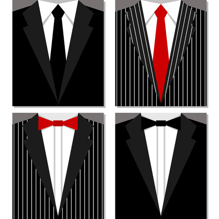 black bow: Set of different suits and ties. Black and striped suits. Illustration