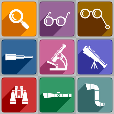 optical equipment: Set of icons of optical devices. Illustration