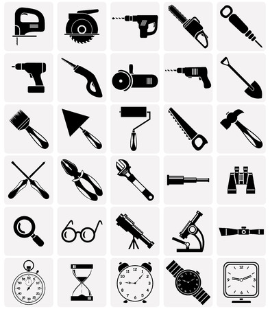 perforator: Set of icons of different tools and devices.
