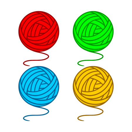 Set of balls of a yarn on a white background.  Illustration