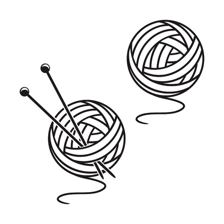 Two balls of a yarn on a white background.