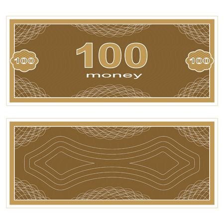 one hundred: Game money. Set on a white background. Banknote one hundred money.