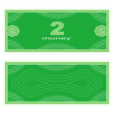 paper money: Game money. Set on a white background. Banknote two money.