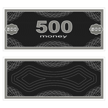 fake money: Game money. Set on a white background. Banknote five hundred money.