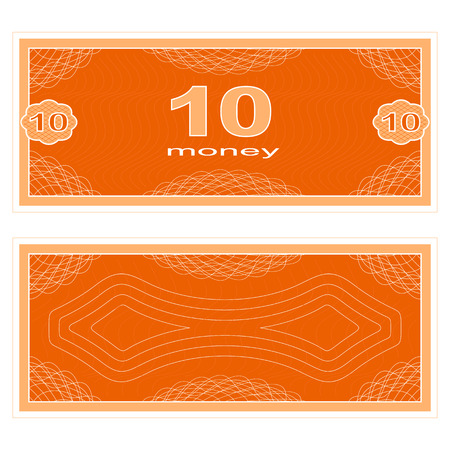 paper money: Game money. Set on a white background. Banknote ten money.
