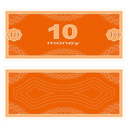 fake: Game money. Set on a white background. Banknote ten money.