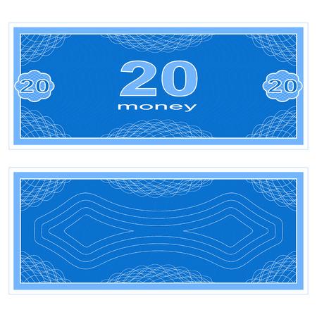 twenty: Game money. Set on a white background. Banknote twenty money. Illustration