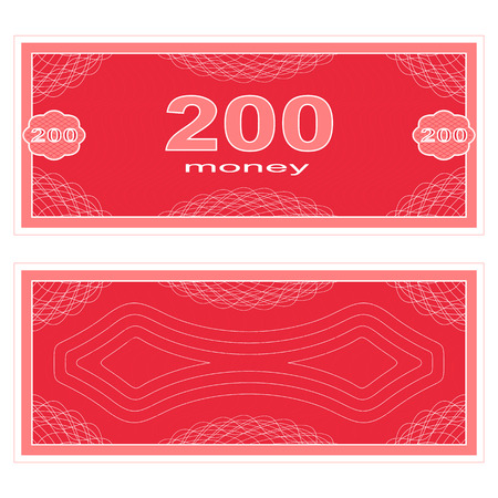 fake money: Game money. Set on a white background. Banknote two hundred money.
