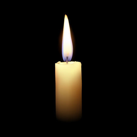 paraffin: Burning candle on a black background.