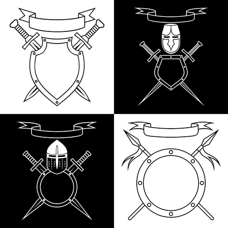 contours: Knightly emblems. Set of black and white contours.