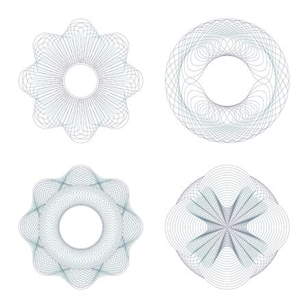 Guilloche rosettes. Set on a white background. Vector
