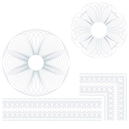 Rosettes border and corner. Set on a white background. Vector