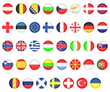 ヨーロッパ諸国の国旗のセット。白の背景上のアイコン。  イラスト・ベクター素材