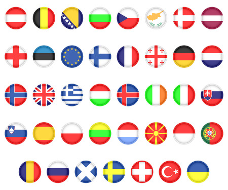Set of flags of European countries. Icons on a white background.