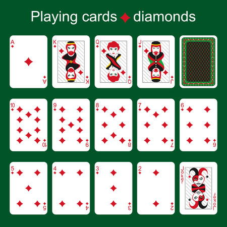 joker playing card: Set of playing cards on a green background. Diamonds. 63  88