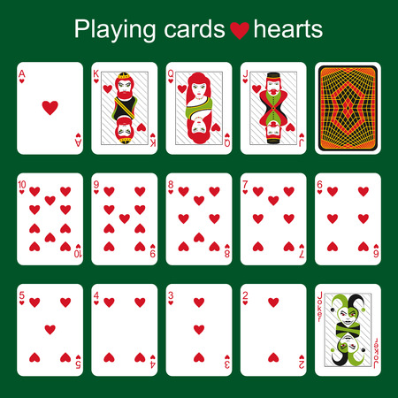 joker playing card: Set of playing cards on a green background. Hearts. 63  88 Illustration