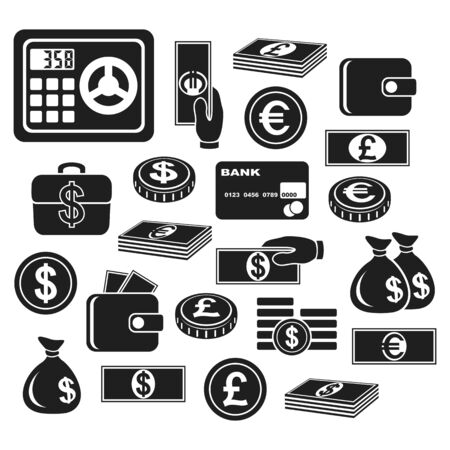billfold: Icons of different currency and financial objects. Set on a white background.