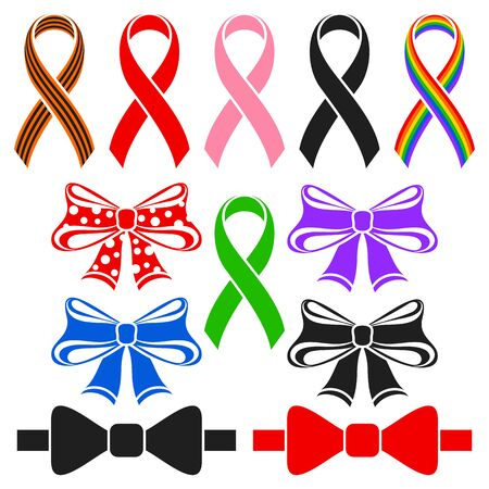 awareness ribbons: Awareness ribbons and bows. Set on a white background.