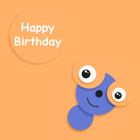 funny creature: Postcard to Birthday. Funny creature on a light orange background.
