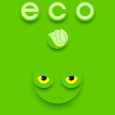 rana caricatura: Cabeza de reptil divertido sobre un fondo verde. Composición verde del eco.