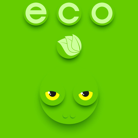 cartoon frog: Funny reptile head on a green background. Green eco composition.
