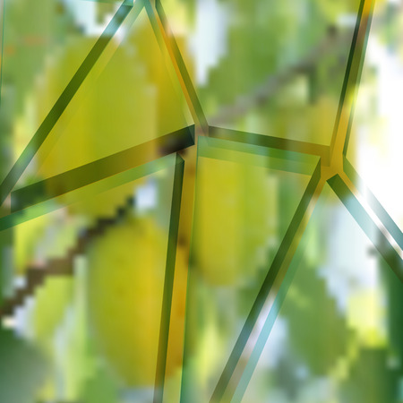 splinters: Glass splinters on the background of the fruit tree. Abstract background. Mesh gradient and transparency is applied.