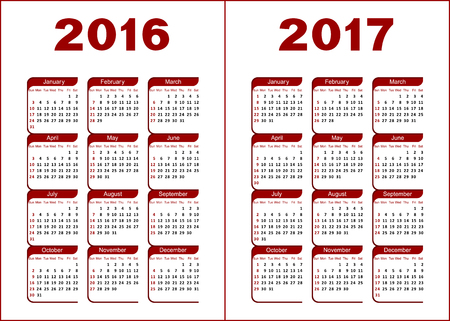 Calendar for 2016, 2017. Red and black letters and figures on a white background. Banco de Imagens - 44978073