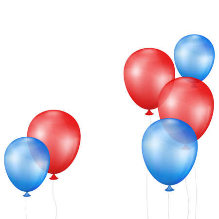 red balloons: Group of balloons form an abstract background. Balloons red and blue. Mesh gradient and transparency is used. Illustration