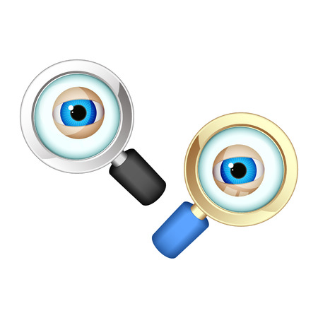 scrutiny: Eyes in magnifying glasses. Set on a white background. Illustration