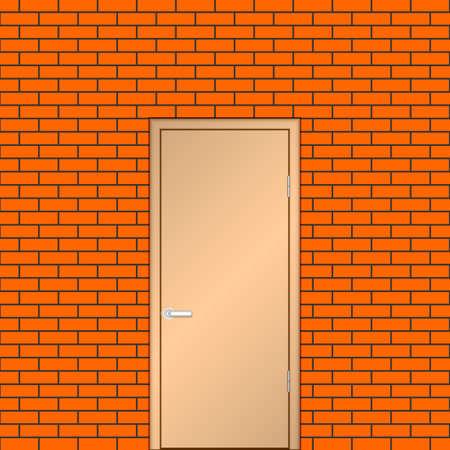 doorhandle: Door on a brick wall.