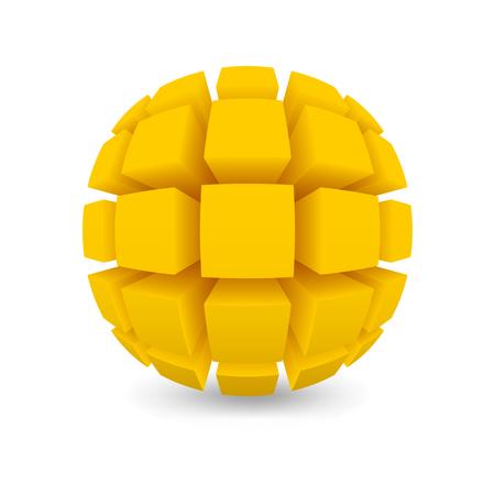 黄色の球を分けられます。白い背景をオブジェクトします。メッシュ グラデーションを使用した影。