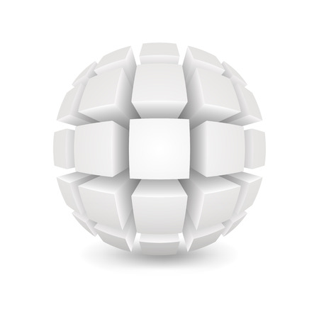 divided: Divided white sphere. Object on a white background. Mesh gradient was used shadow and transparency. EPS-10.