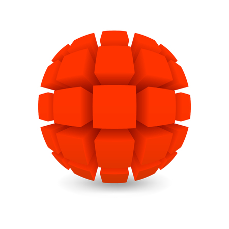 abstract cubes: Divided red sphere. Object on a white background. Mesh gradient was used shadow.