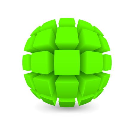 緑色の球体を分けられます。白い背景をオブジェクトします。メッシュ グラデーションを使用した影。